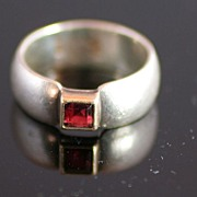 SALE Sterling Silver 14k & Garnet Modern Design Ring