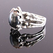 SALE Sterling Silver Ring w Metallic Black Stone