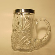 SALE Cut Crystal and 875 Silver Estonian Silver Mug 1939