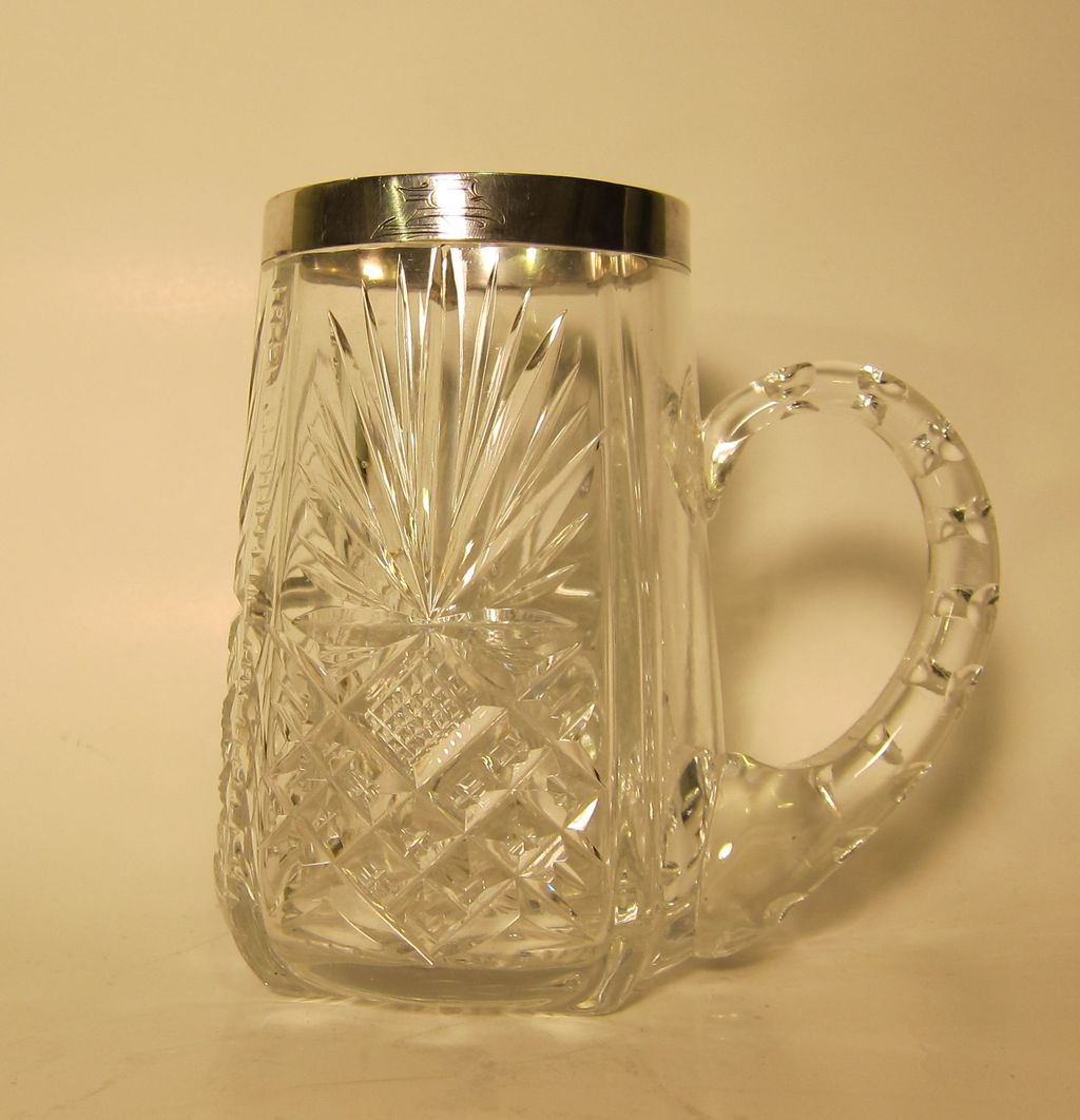 Cut Crystal and 875 Silver Estonian Silver Mug 1939