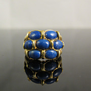 Sterling Silver & Blue Stones Modern Design Ring
