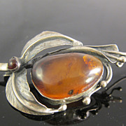 Estate Sterling Silver & Amber Art Nouveau Style Pin Brooch
