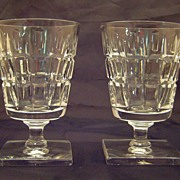 SALE Pair of Hawkes Crystal Wine / Water Goblets