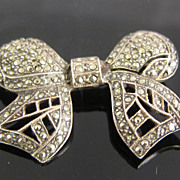 Vintage Sterling Silver & Marcasites Ribbon Pin Brooch