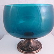 Gorham Sterling Silver & Blue Glass Compote Candy Bowl