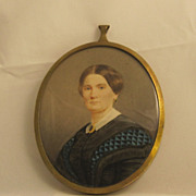Antique Miniature Watercolor Painting of a Woman in Brass Frame