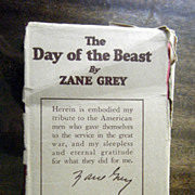 SALE The Day Of The Beast Zane Grey Harper & Bros. Pub. Cpyrt. 1922 1st Edition