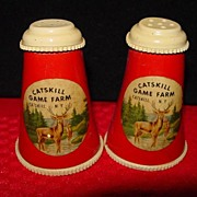 Vintage Catskill Game Farm Salt and Pepper Shakers