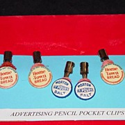 Six Advertising Pencil Pocket Clips - Morton Salt / Home Town Bread