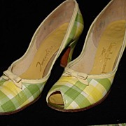 Vintage 1940's Plaid Leather Size 6 Pumps - Like New Condition