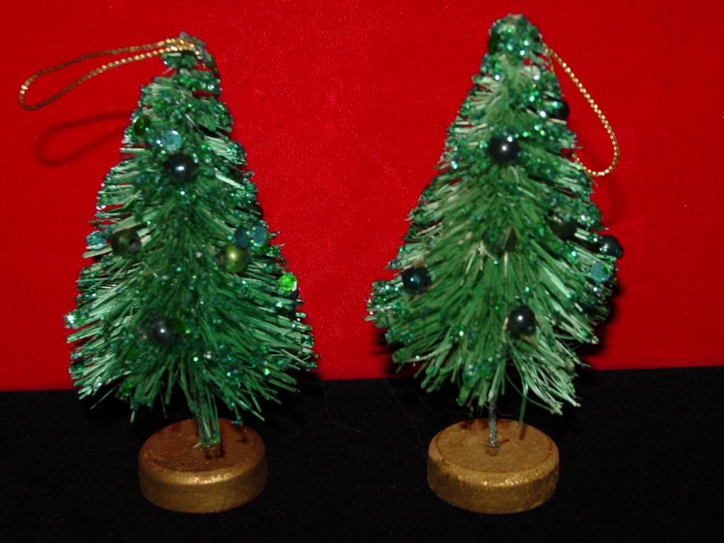 Vintage Bottle Brush Trees with Mercury Glass Ornaments