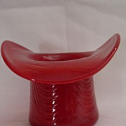 Fenton Mandarin Red Glass Hat