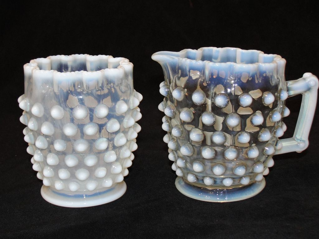Antique Opalescent Hobnail Glass Sugar And Creamer From