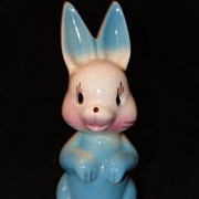 Airbrushed Pottery Bunny Rabbit Lamp Base