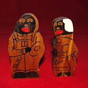 Vintage Black Memorabilia Wooden Salt and Pepper Shakers