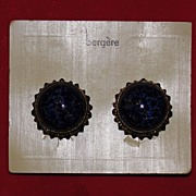 Pair of Vintage Bergere Clip On Earrings on Original Card