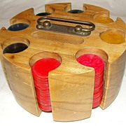 Vintage Wooden Poker Chip Caddy with Bakelite Chips