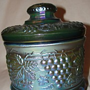Fenton Favrene Glass Grape and Cable Tobacco Jar