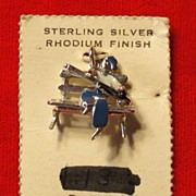 New Old Stock Sterling Silver Charm on Original Card - Guitar Player