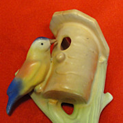 Colorful Ceramic Czech Bird on Birdhouse Wall Pocket or Vase
