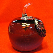 Off Hand Plum  Opalescent Glass Apple