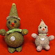 Pair of Vintage Snowmen Putz Ornaments with Glitter and Chenille