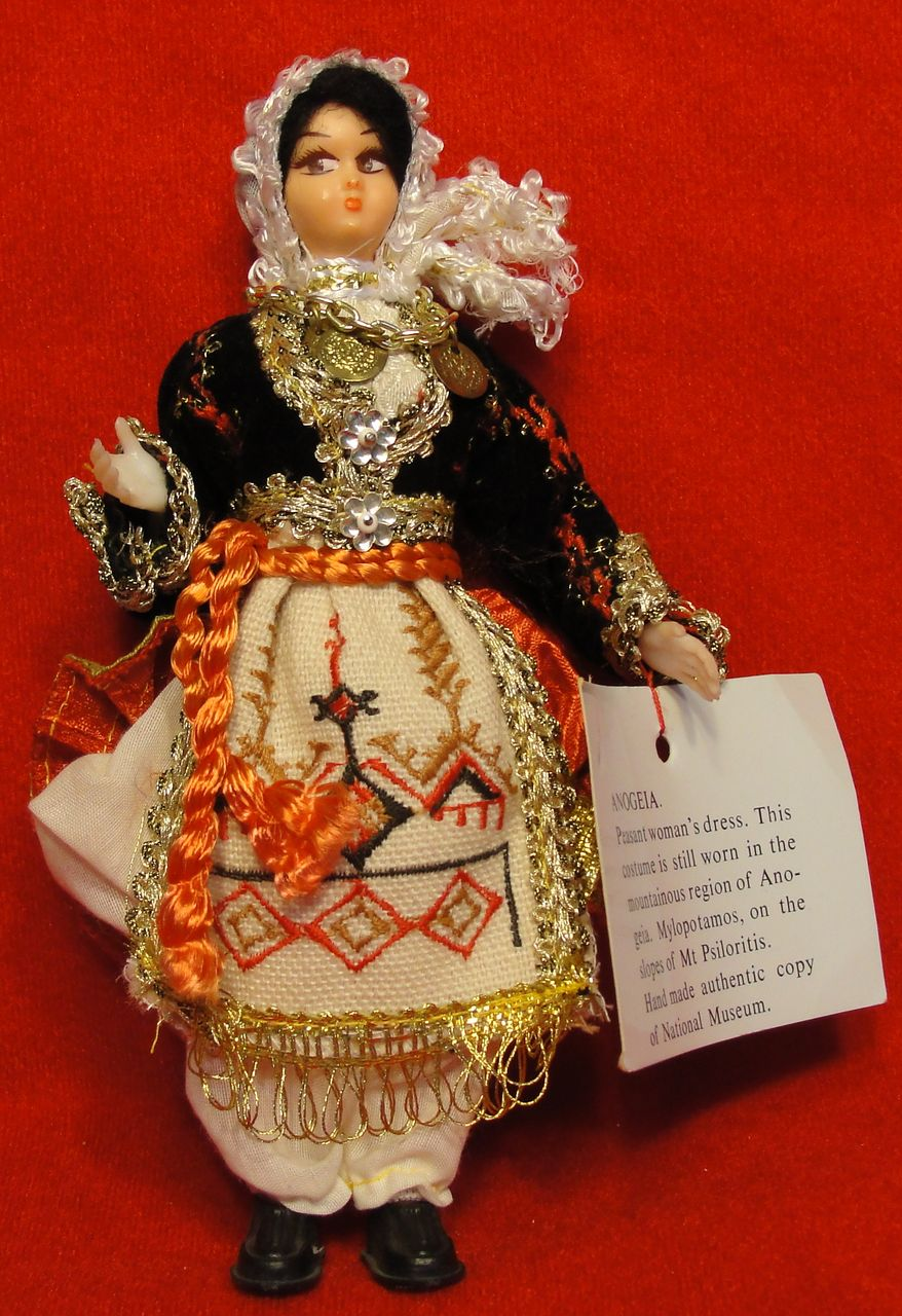 Hand Made International Peasant Doll from Anogeia Greece