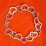 Open Heart Sterling Silver Bracelet - 7 inches in Length