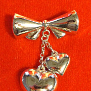 Sterling Silver Bow Pin with Two Dangling Hearts