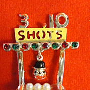 Carnival Booth Pin - Three Shots for a Dime - Dangling Clown Face