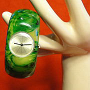 Rare Swirly Green Bakelite Clamper Bracelet Watch