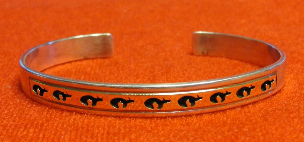 Sterling 14K Inlay Cuff Bracelet Bears Signed P Skeet - Native American
