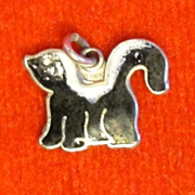 Enamel Skunk Vintage Sterling Silver Charm