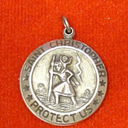 Sterling Silver St Christopher Medal Locket Pendant Slides Open