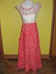 Double Ruffle Red and White Floor Length Dress