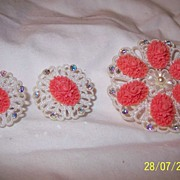 Fun Faux Coral Brooch and Clip-on Earrings - Free Shipping