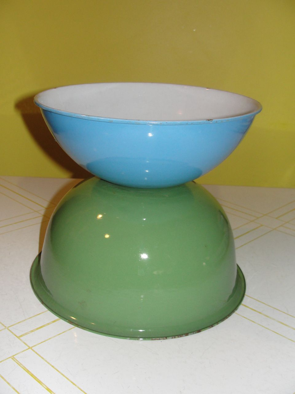 Green and Blue Enamelware Bowls