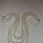 Triple Play Faux pearl necklace - Free Shipping