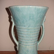 Brush Aqua Double Handle Vase