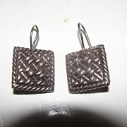 Basket Weave J-hook Earrings - Free shipping