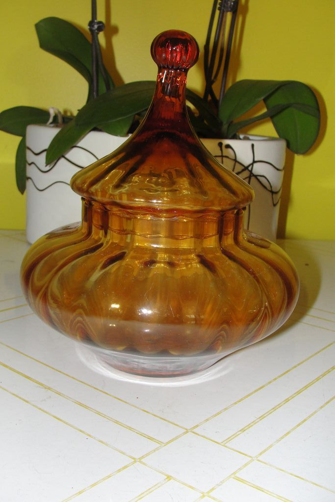Lantern shaped Amber Glass Covered Dish