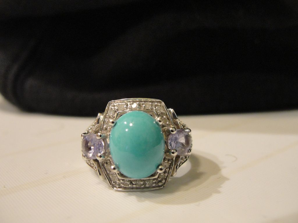 turquoise tanzanite and accent 10k white gold