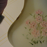 Fenton Hand painted &quot;Pink Blossom&quot; on Custard Satin Vase