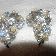 Baby Blue and Faux Pearl Lisner Clip-on Earrings - Free Shipping