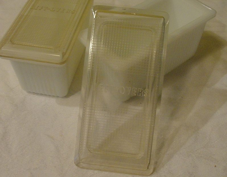 White Milk Glass ''Left-overs'' Containers