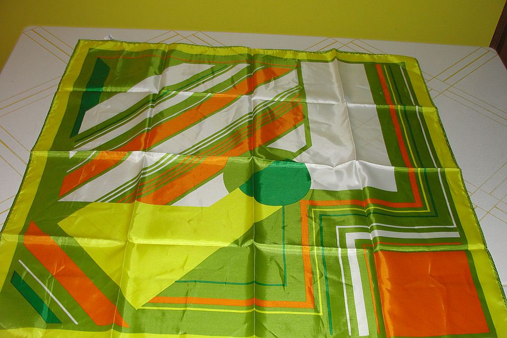 Psychedelic Orange, Green and Yellow Stripe 70's ''Totes'' Rain Scarf - Free Shipping