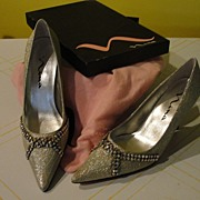 Nina Brocade and Rhinestone Pumps Size 6 1/2''