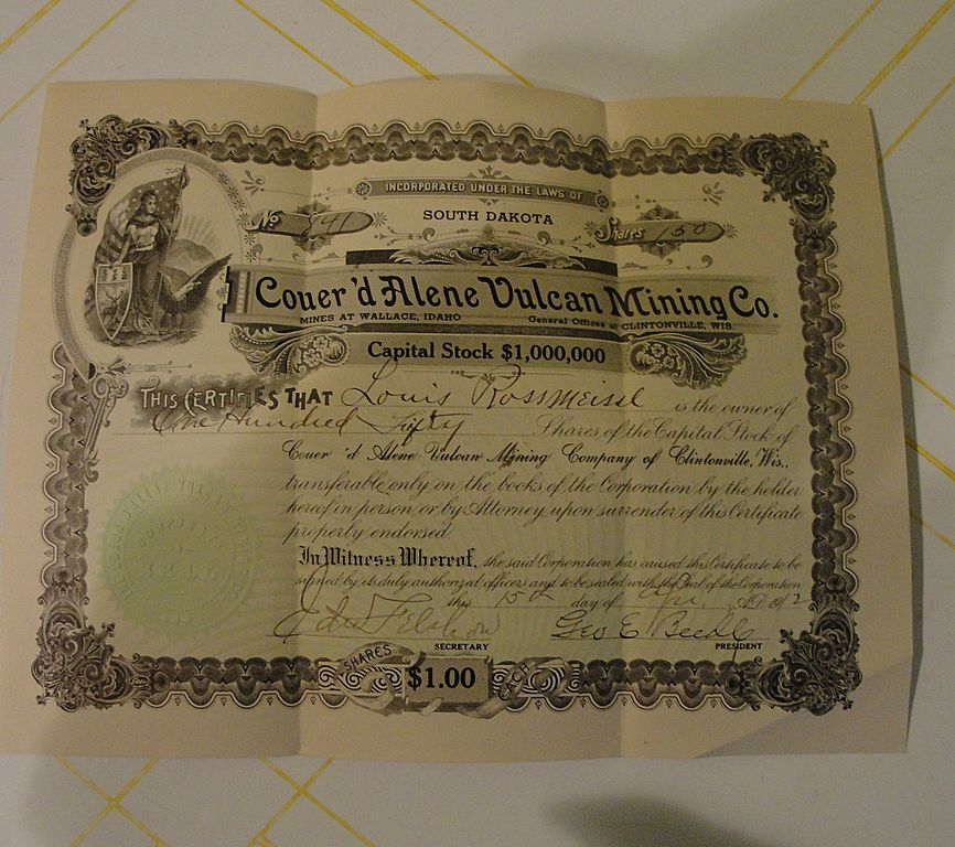 150 Shares Coeur'd Alene Vulcan Mining Co. Cert. #846