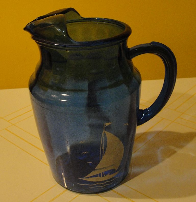 "Hazel Atlas ""Ships'' Cobalt Blue Glass Pitcher"