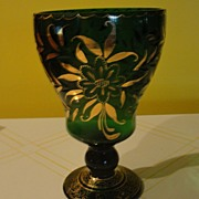 Green Crystal vase with Gold accent